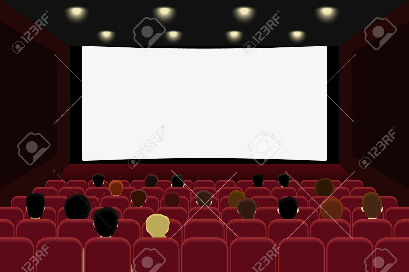 People are watching film in the cinema. Vector illlustration.