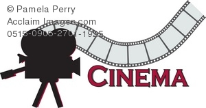 Clip Art Illustration of a Cinema Sign With a Strip of Film and a.