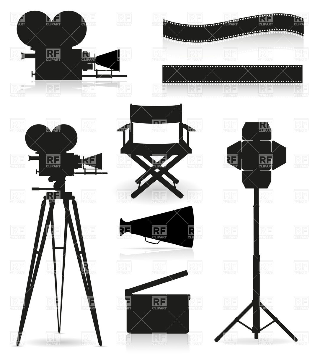 Cinematography, film making and movie objects silhouettes Vector.