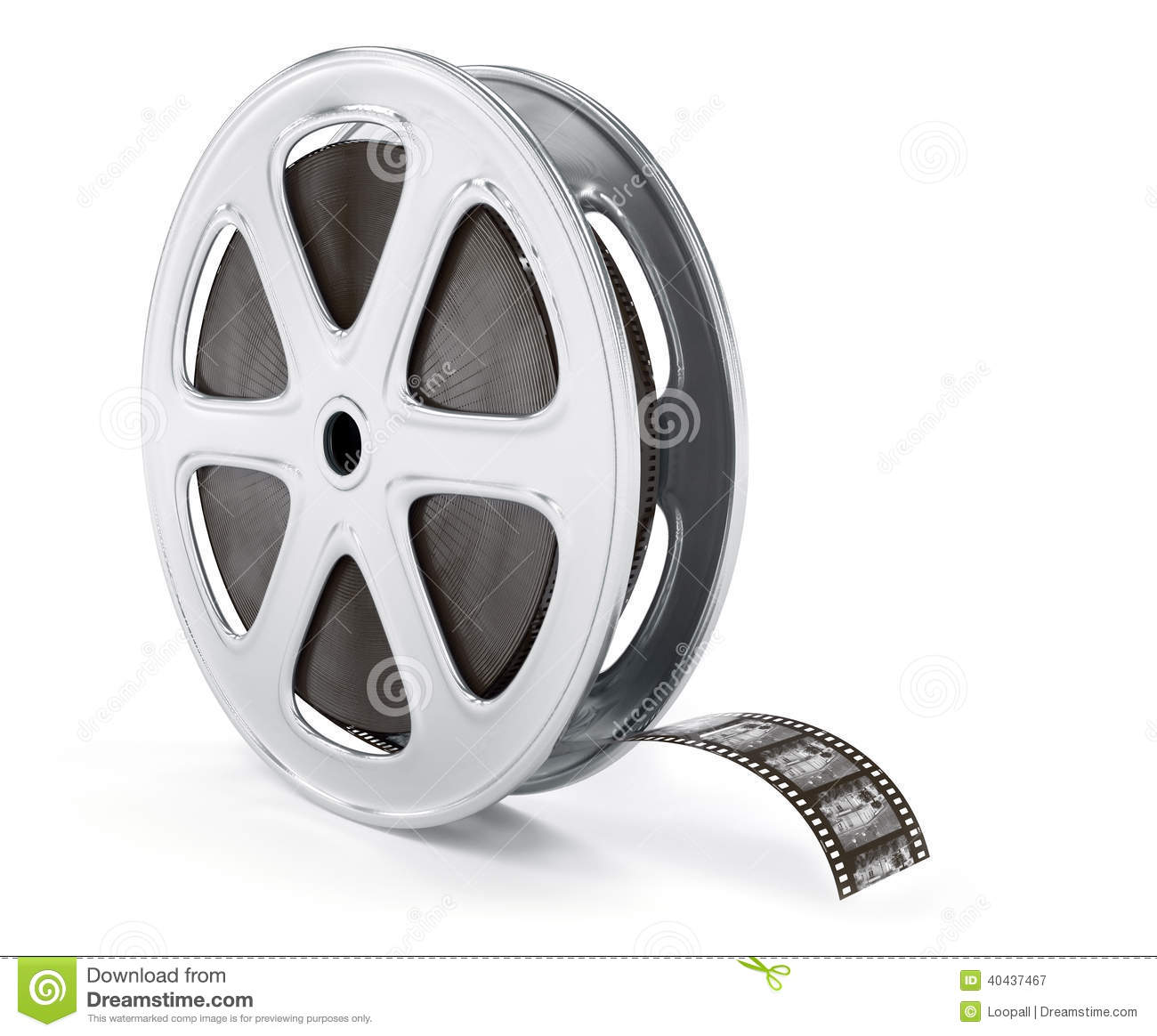 Vintage Cinematography Reel Film On Disc Stock Illustration.