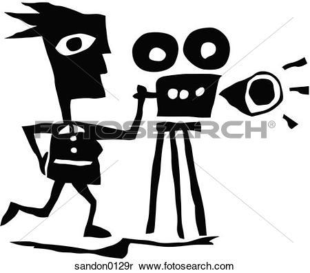 Stock Image of film industry, video camer, tripod, filmmaker.