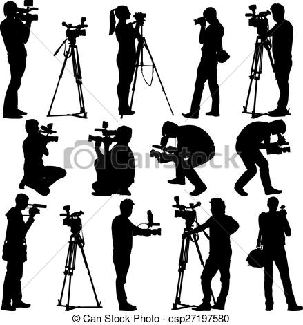 Vector of Cameraman with video camera. Silhouettes on white.