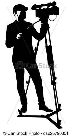Clipart Vector of cameraman with video camera.