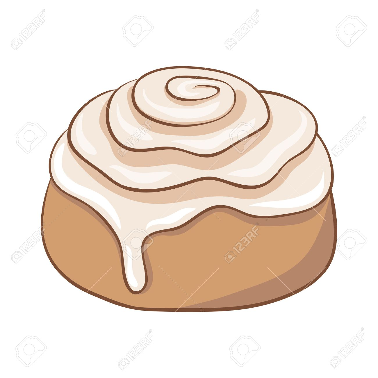 Freshly baked cinnamon roll with sweet frosting. Vector illustration..