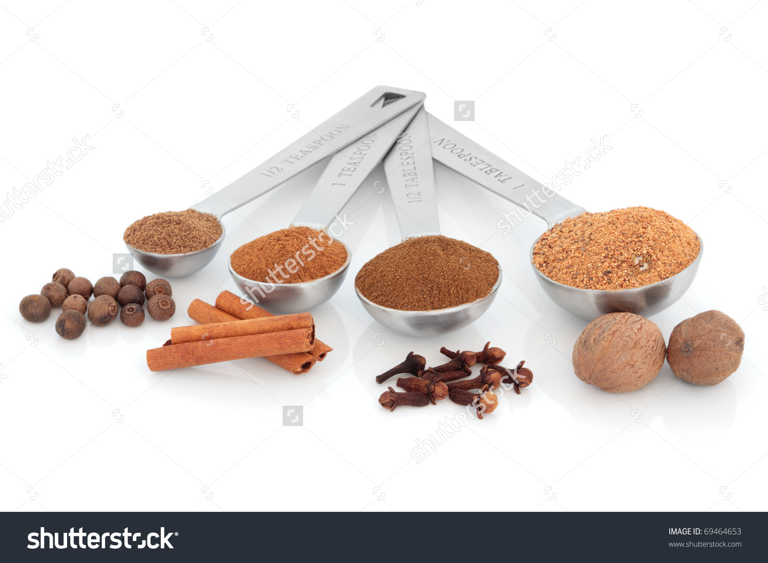 Spice Selection Of Nutmeg, Clove, Cinnamon And Allspice In Powder.