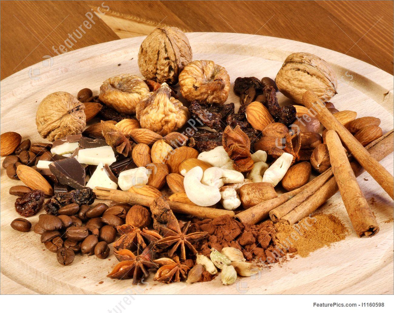 Spices, Nuts, Coffee And Cinnamon Picture.
