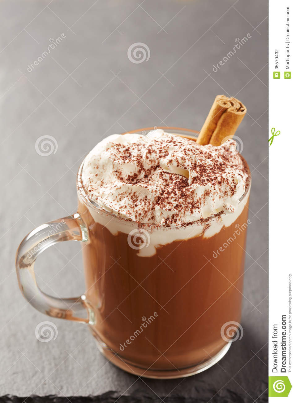 Cup Of Hot Chocolate With Whipped Cream And Cinnamon Stock.