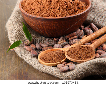 Cocoa Powder Cocoa Beans On Wooden Stock Photo 132284558.