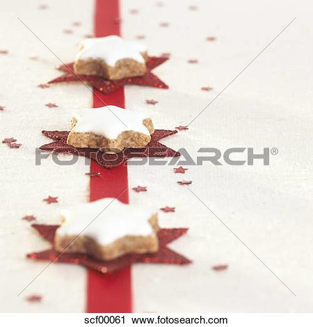 Stock Photography of Christmas cookies, cinnamon stars scf00061.