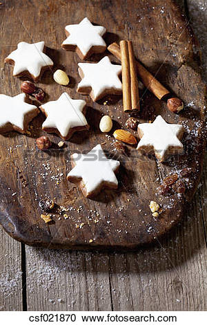 Stock Photography of Christmas pastry, Cinnamon stars on board.