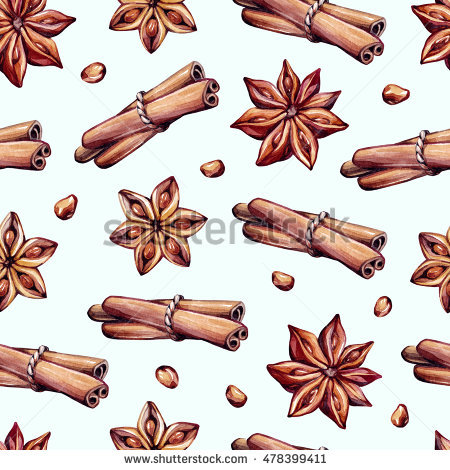 Watercolor Cinnamon Star Anise On White Stock Vector 235434091.