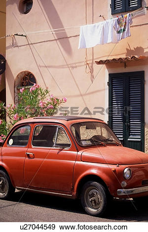 Stock Photograph of Fiat Cinquecento, parked in street, Elba.