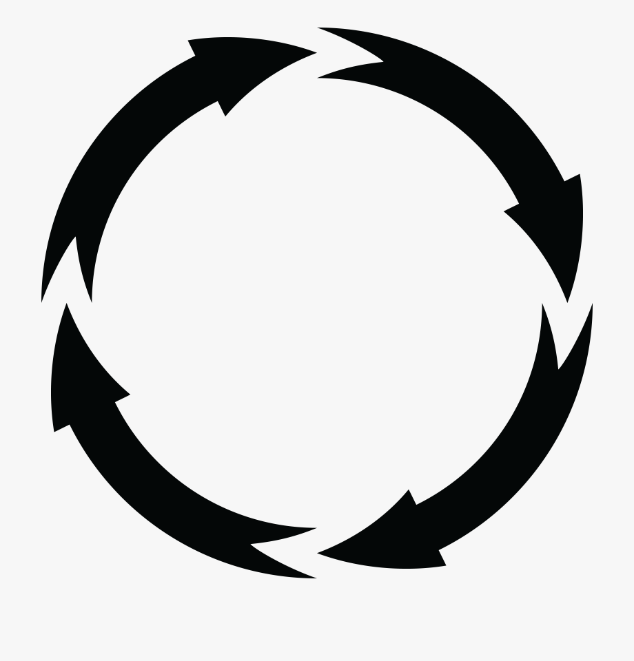 Free Clipart Of A Black And White Round Frame Of Arrows.