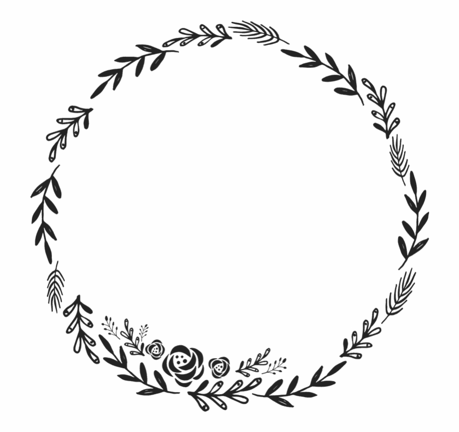 Floral Wreath Rubber Stamp Border Circular Stamps.