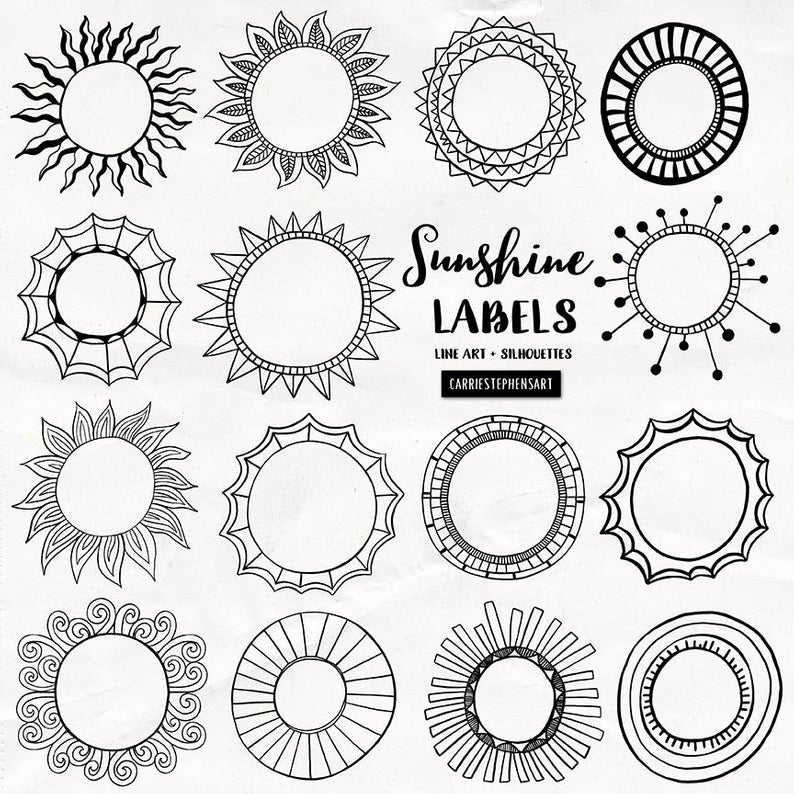 Sunshine Labels, Circle Border Clipart, Round Border Graphics, Printable  Text Box for stationery, invitations, Easter cards, Summer.