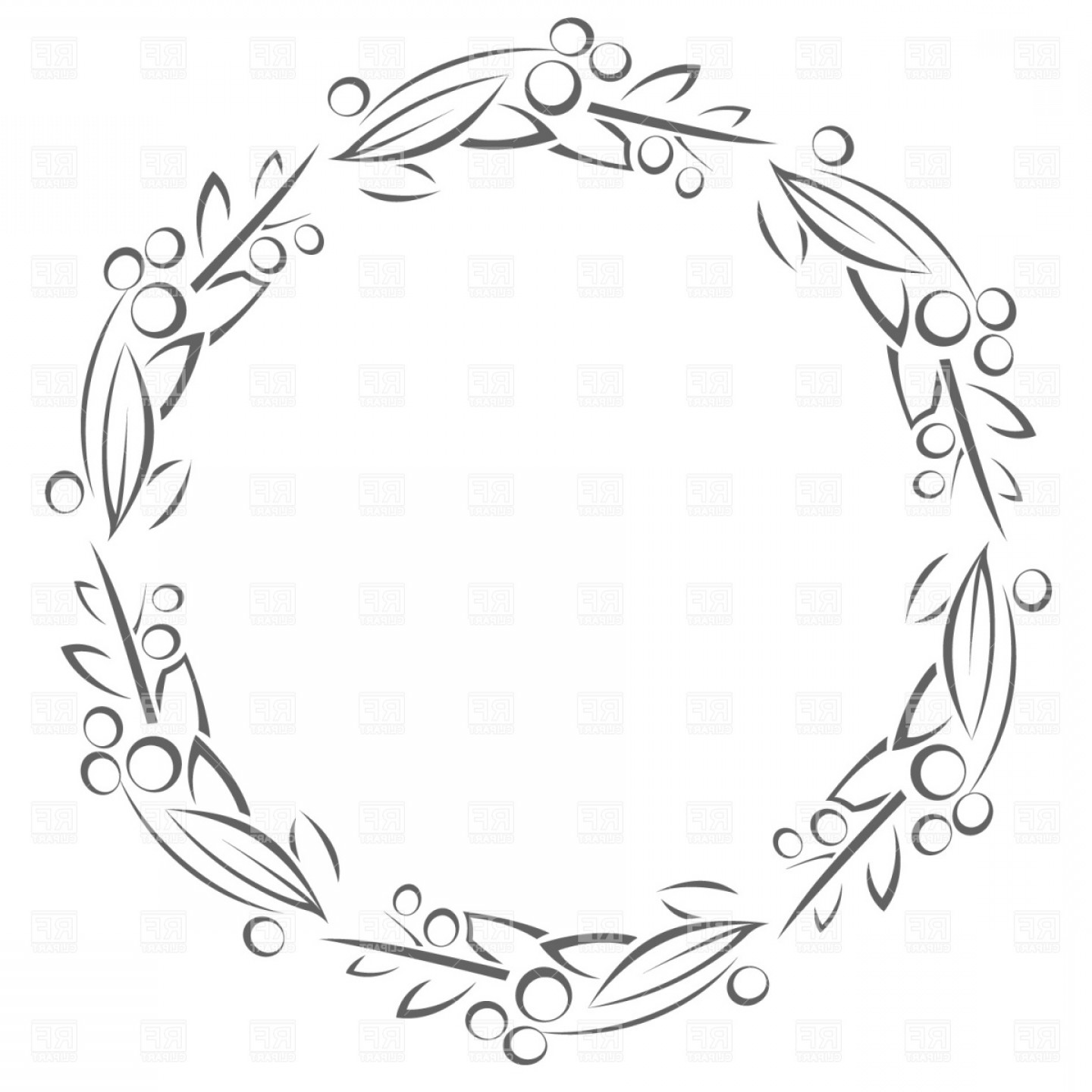 Circle Frame With Leaves Vector Clipart.