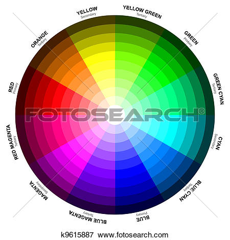 Stock Illustration of A color wheel or color circle is an abstract.