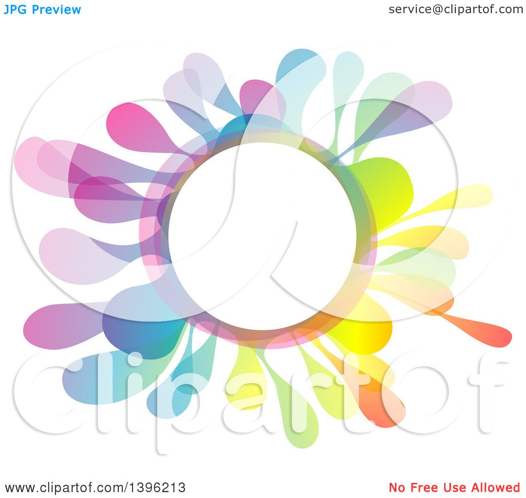 Clipart of a Colorful Creative Color Splash Circle Frame.