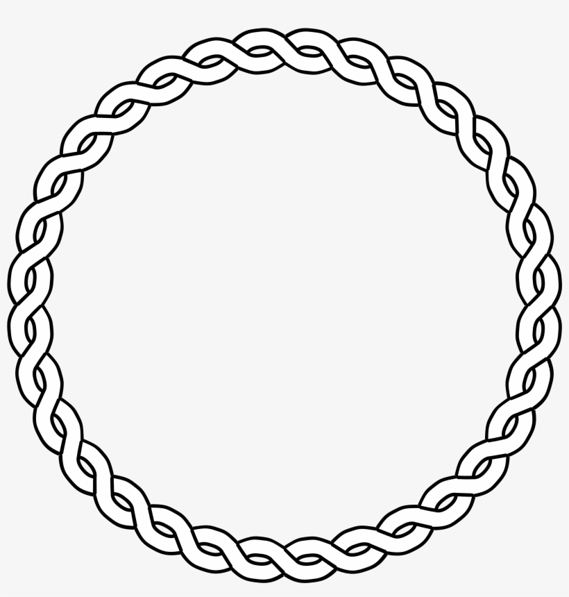 Clipart Rope Circle Black White Line Art Coloring.