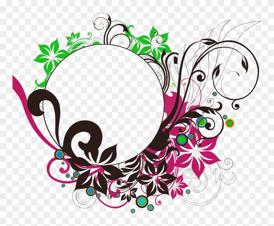 Clipart Floral Flourish Round Frame Wedding Clip Art.