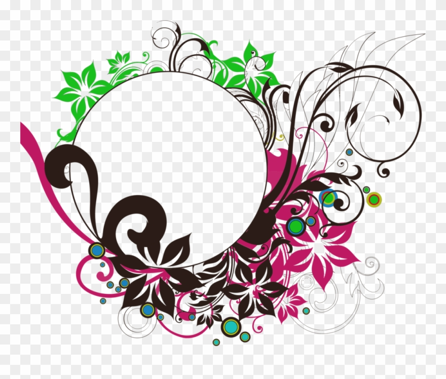 Floral Round Frame Png Photo.