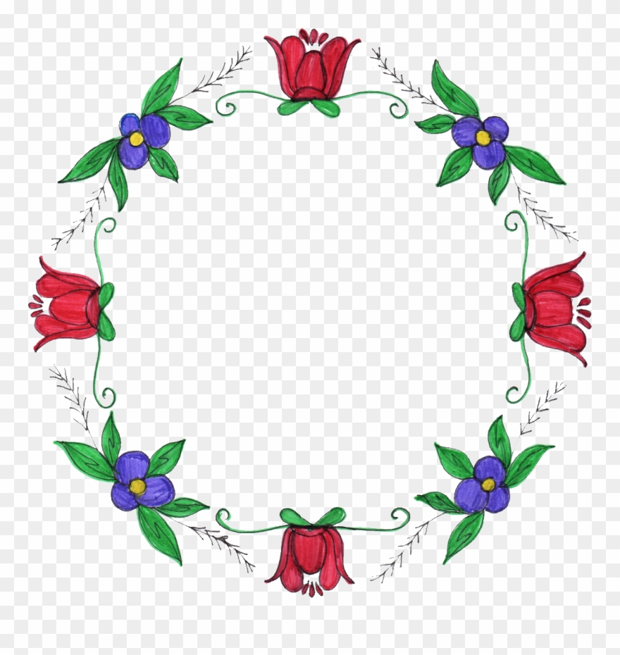 8 Circle Flower Drawing Frame Clipart (#3994705).