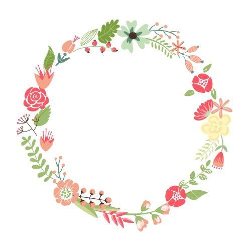 Floral Frame. Cute Retro Flowers Arranged Un A Shape Of The Wreath.