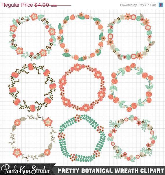 circle flower wreath clipart #12