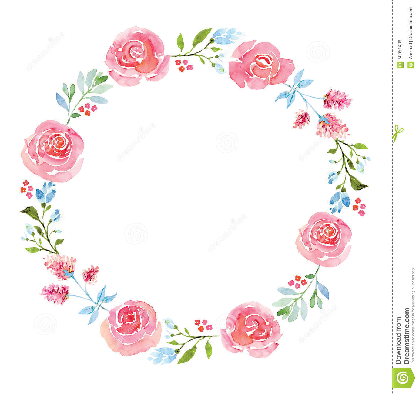 Beautiful Flower Watercolor Wreath Stock Illustration.