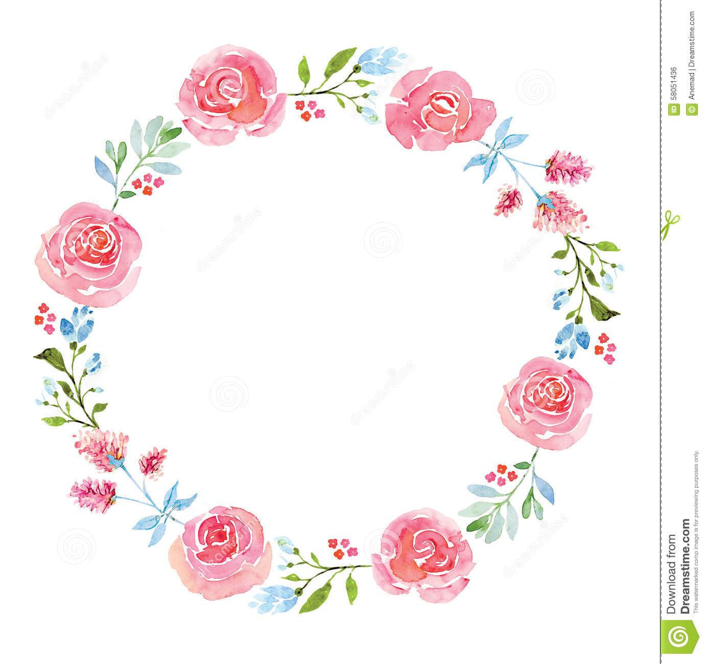 circle flower wreath clipart #11