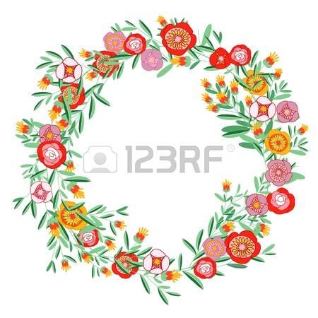 circle flower wreath clipart #14