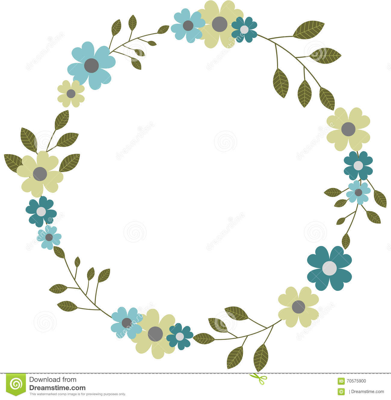 circle flower wreath clipart #15