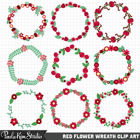 circle flower wreath clipart #18