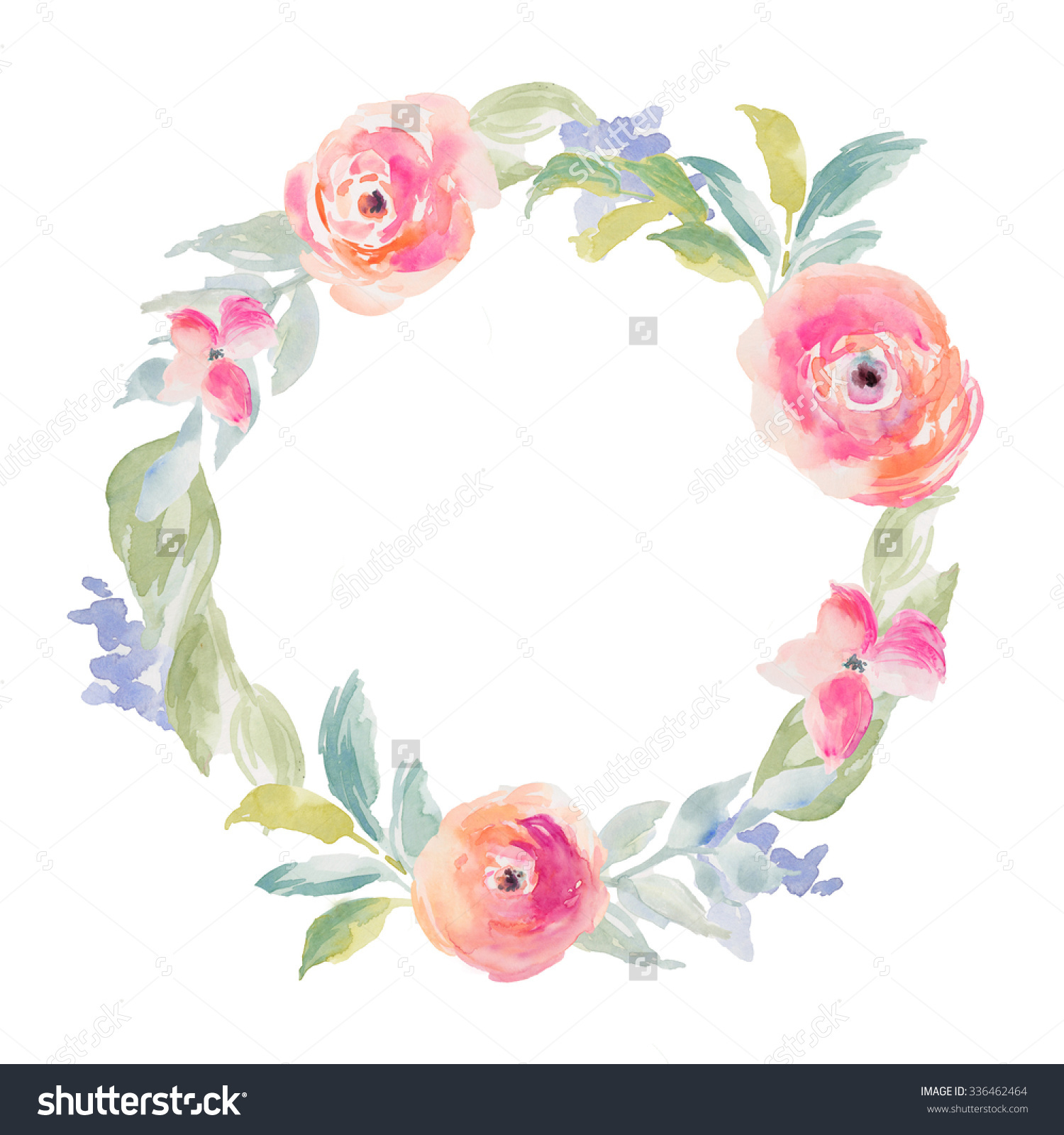 Watercolor Flower Frame Watercolor Flower Wreath Stock.