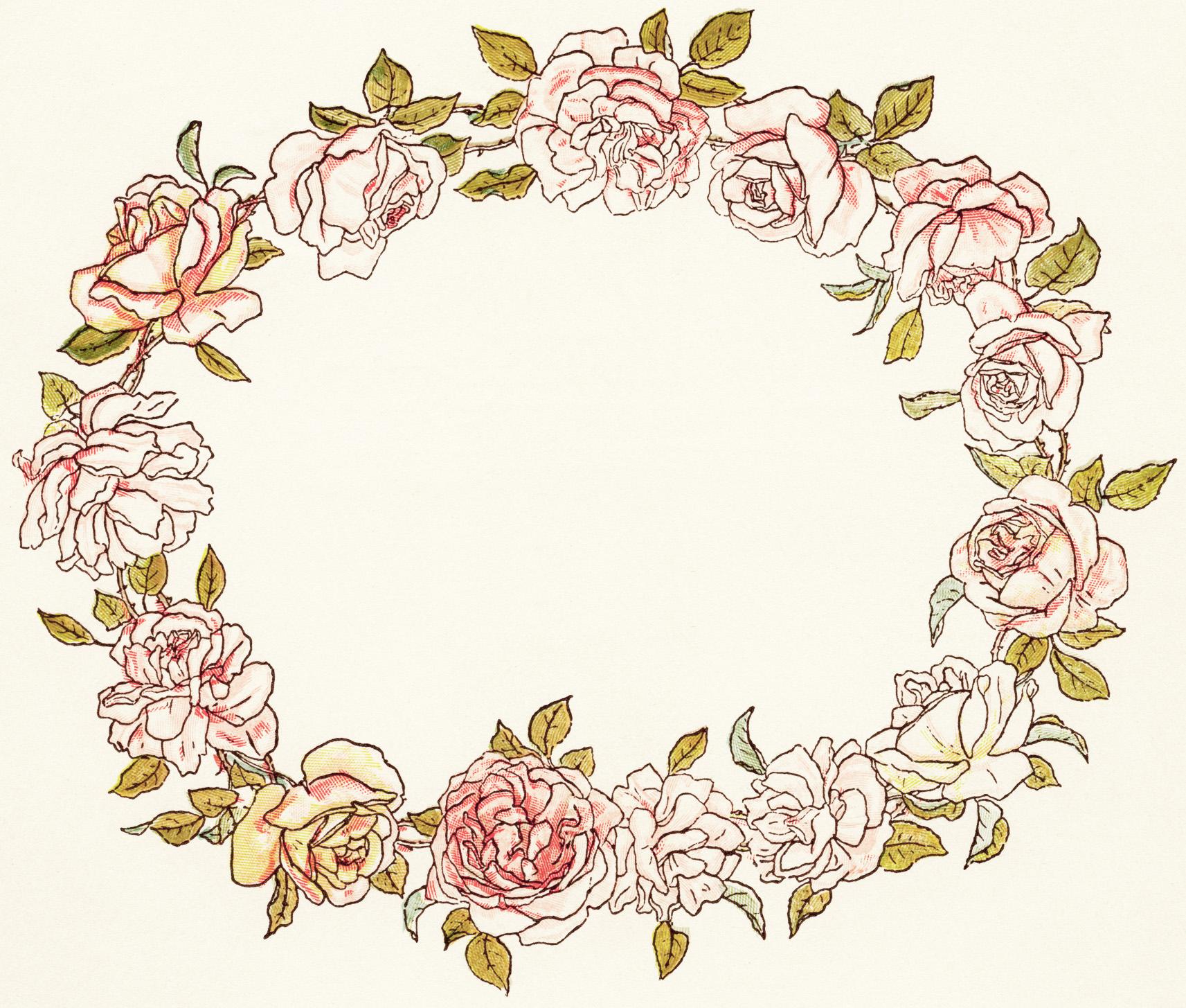 Circle Flower Wreath Clipart.