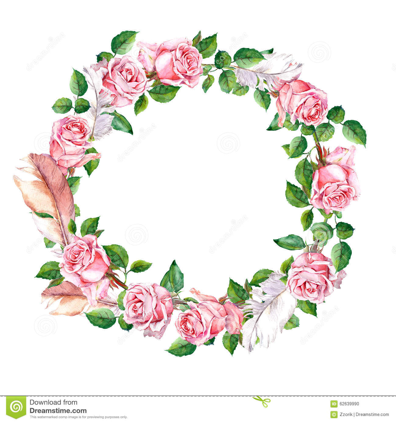 Circle Flower Wreath Clipart.
