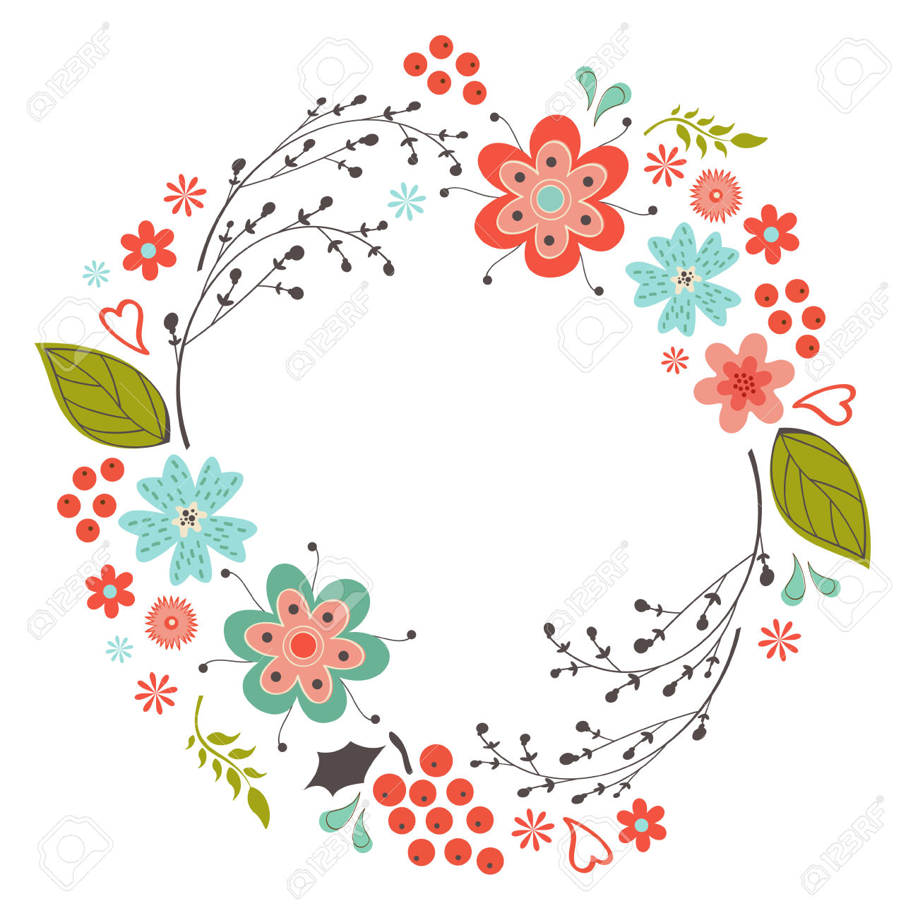 circle flower wreath clipart - Clipground