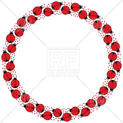 Circle frame of cartoon ladybugs Vector Image.
