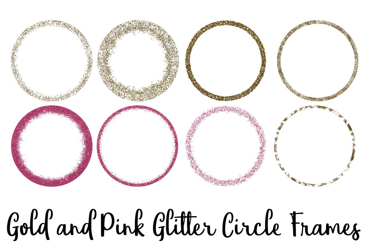 Gold and Pink Glitter Circle Frames Clip Art.