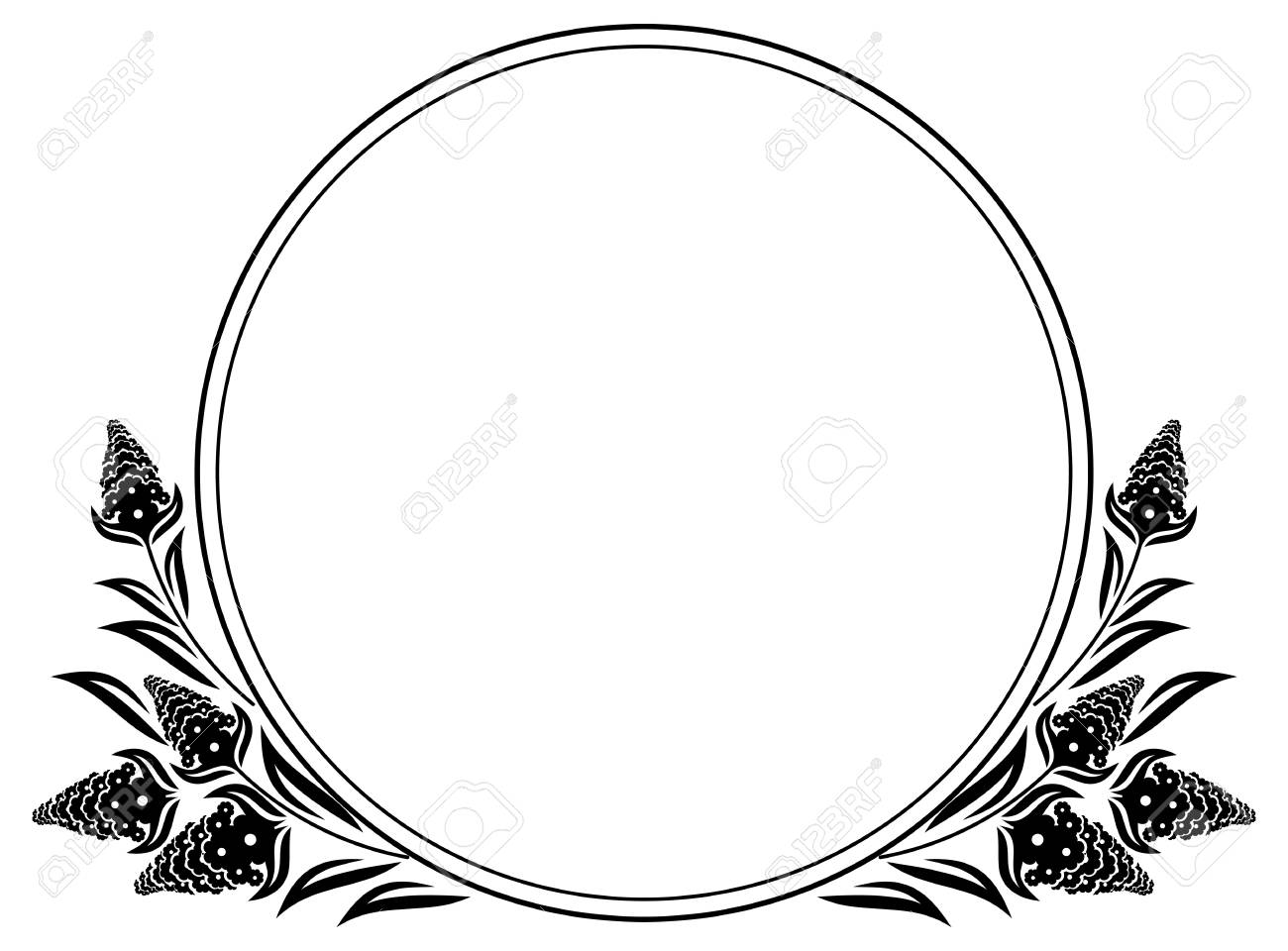 Black and white round frame with floral elements. Vector clip...
