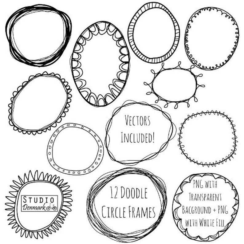 Doodle Circle Frames Clipart and Vectors.