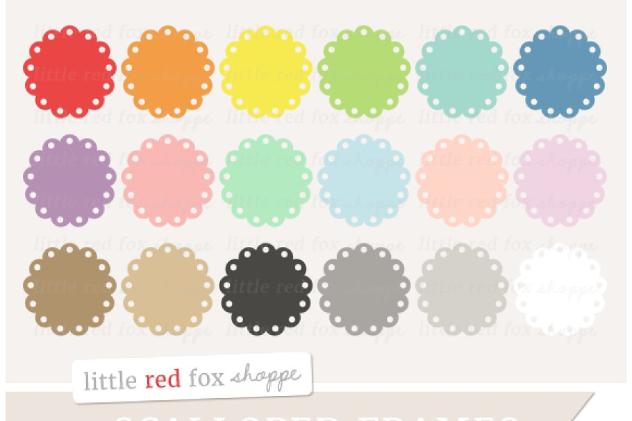 Scalloped Circle Frame Clipart.