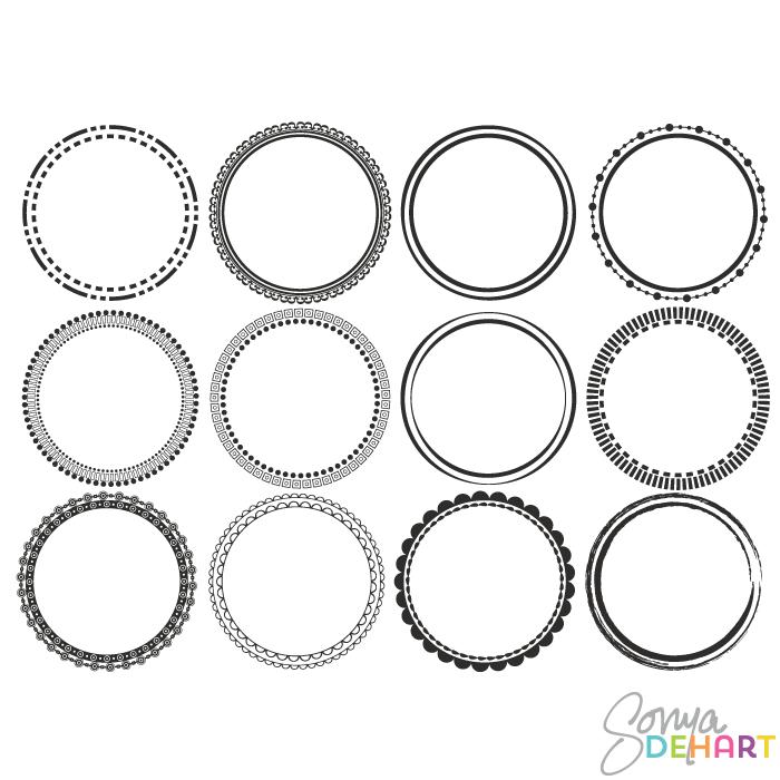 Vector Clip Art Round Circle Frames.