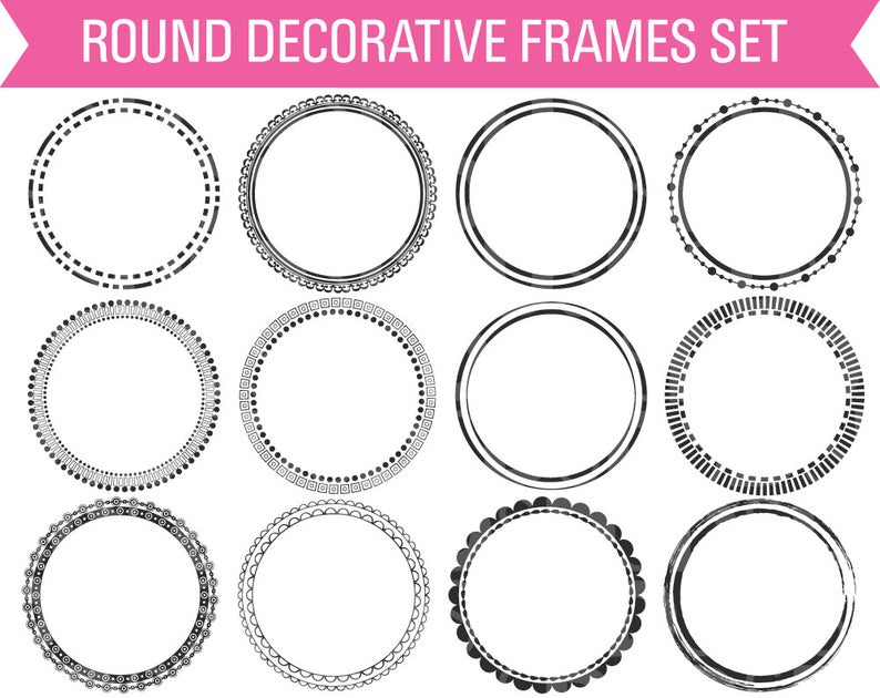 Round Digital Frames, Circle Digital Frame, Frame Clipart, Circle Frame  Clipart, Round Frame Clipart, Digital Frame.