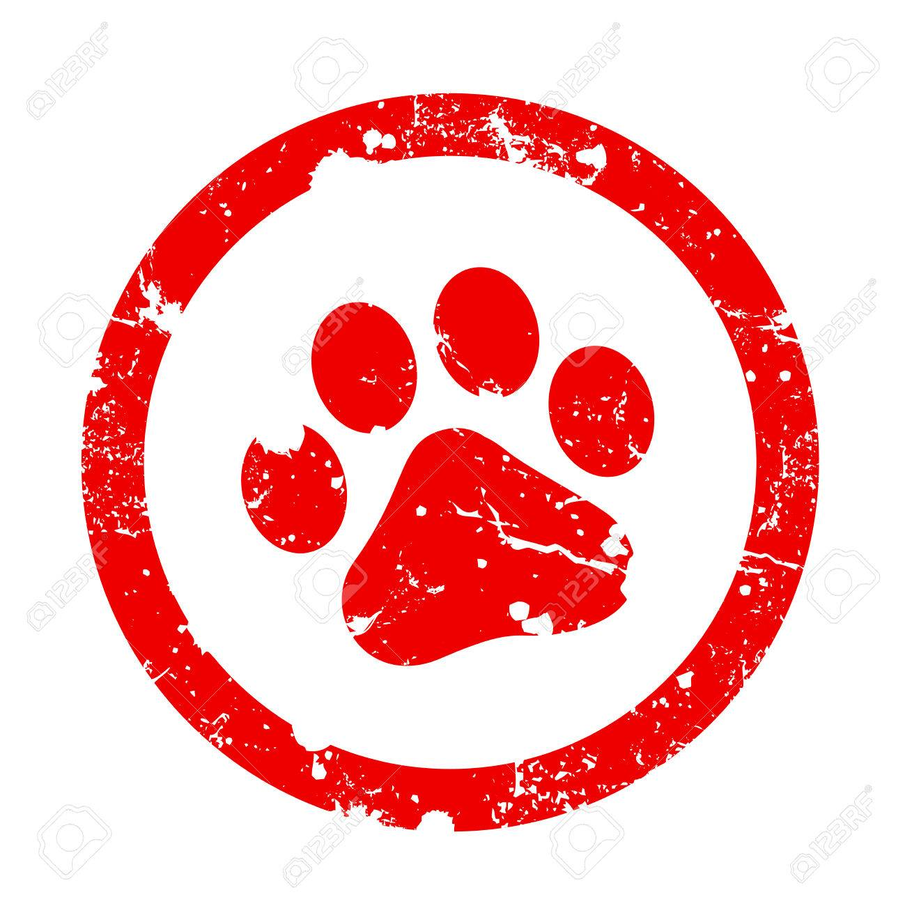 Red paw print inside circle frame grunge clipart isolated on...
