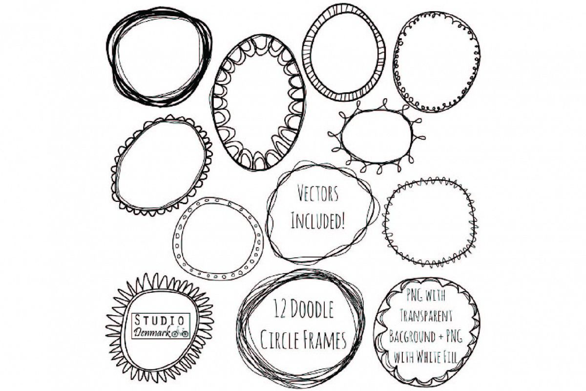 Doodle Circle Frames Clipart and Vector Set.