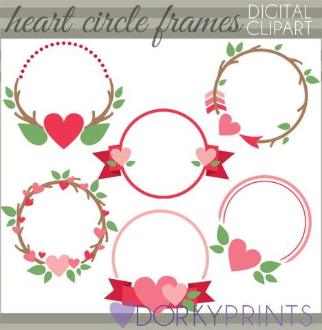 Heart Circle Frames Valentine Clipart.