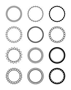 12 Circle Frames Clipart, Decorative Borders, Frame, Label, Monogram Circle.