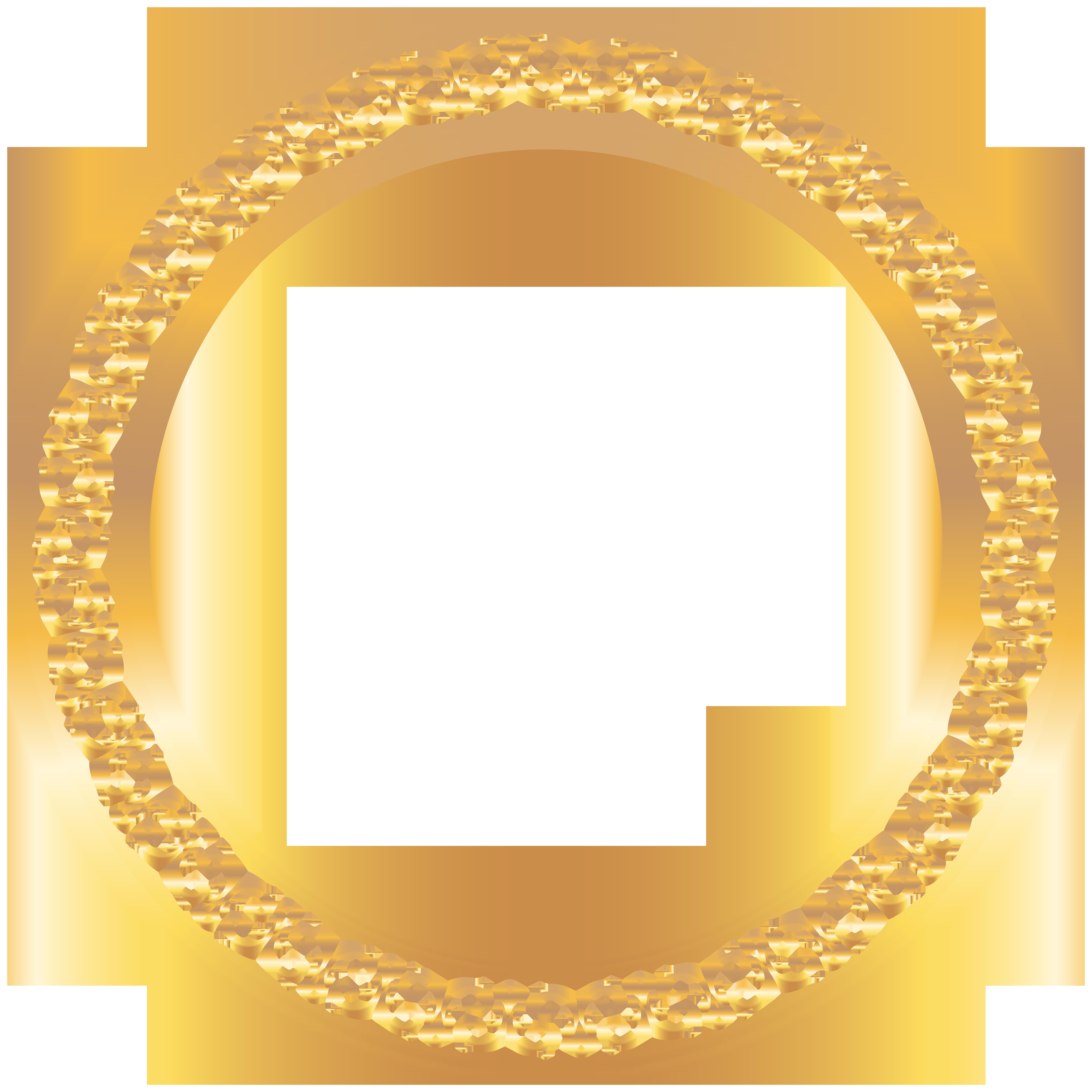 Round Golden Deco Frame PNG Clip Art Image.
