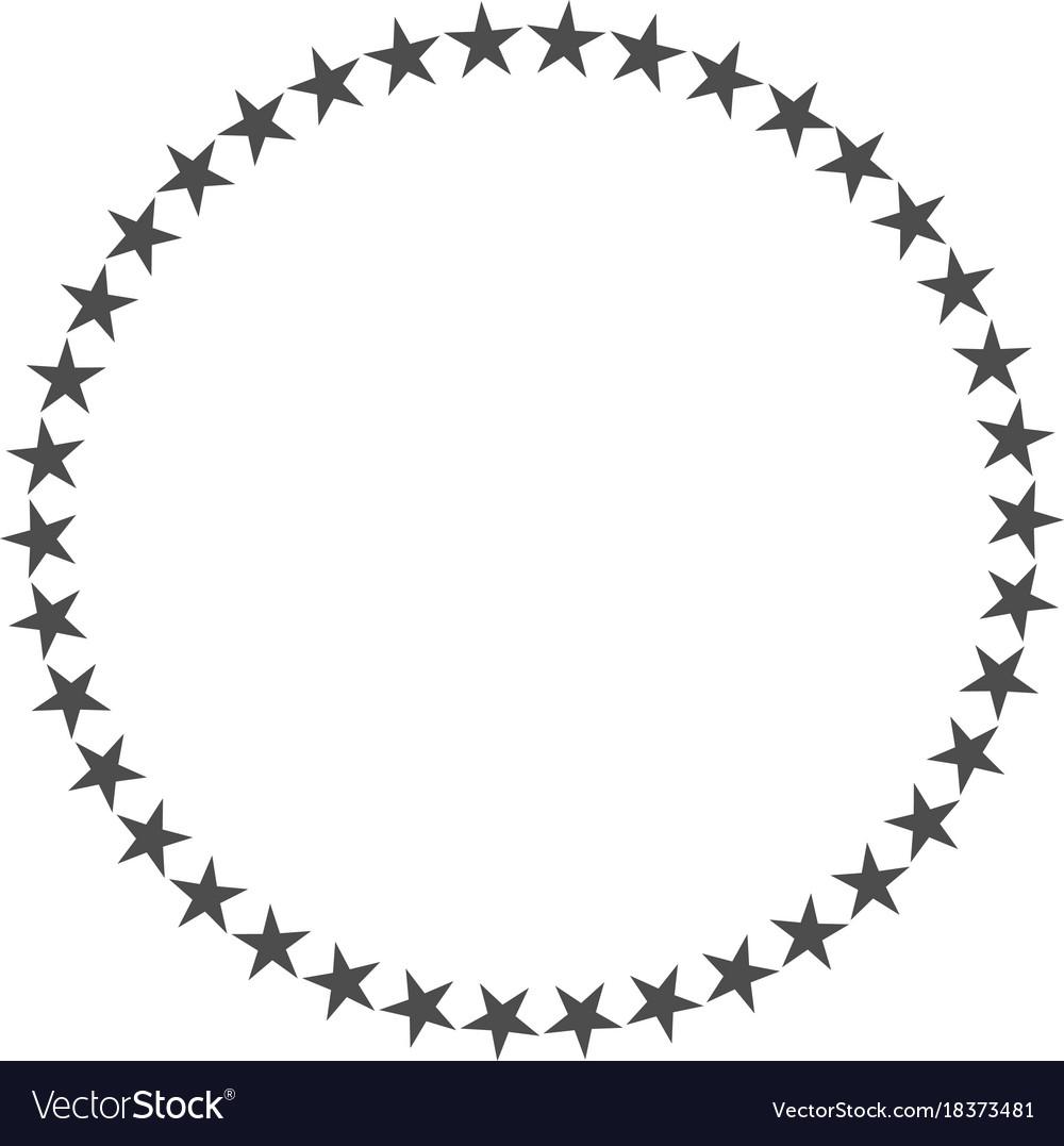 Star in circle shape starry border frame.